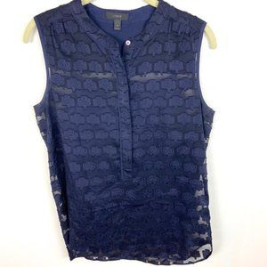 J Crew Silk Sleeveless Navy Blue Blouse Women's 2